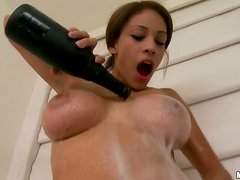 Champagne and Strawberries Pleasing a Hot and Busty Brunette