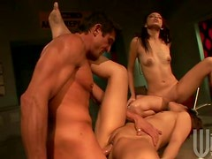 Tiny Tittied Teens With Big Asses Fucked In a Threesome By a Big Cock