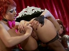 Weird and Crazy Lesbian Action Between Alektra Blue and Nicki Hunter