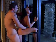 Banging The Horny Brunette Alektra Blue Against a Window