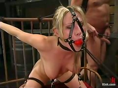 Riding a cock with a breast bondage is what Harmony enjoys