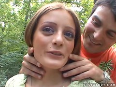 Cute kinky teen Kyra goes to the woods with her boyfriend