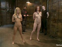 Lilla Katt and her GF get mouth-fucked in a basement and like it