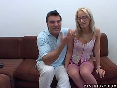 Blonde in Glasses Fingered and Fucked with Sex Toys