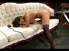 Horny Babe in Stockings Wants to be Machine Fucked