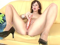 Horny MILF Shaved a Dildo Down Her Wet Hole