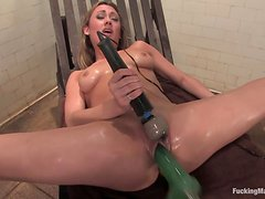 Horny Blonde Is Fucked By Machines