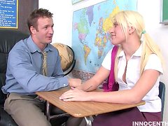 Teacher Nails Sexy Blonde in Pigtails