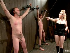 She has three slaves to play with