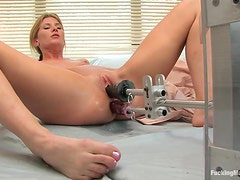 Horny Blonde Has Orgasms With A Fucking Machine