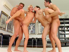Kinky Babes Have A Foursome With Big Cocks In A Foursome