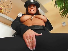 Busty female police officer is a horny slut