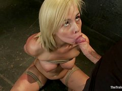 She gets tied up and throat fucked