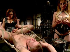 Horny Mistresses Have Fun With One Of Their Slaves