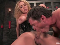 Naughty Action in Dungeon with Dominant Shemale Fucking a Guy's Ass