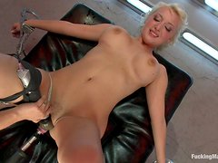 Adorable blonde lusts for machine cock
