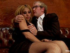 Blond Tranny in Fishnet Stockings Surprises a Dude with Dicking