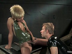 White Sex Slave Cock Sucking and Getting His Ass Fucked by Eccentric Tranny
