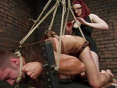 BDSM Pegging Femdom Vid with Strapon Ass Fucking and Pillory Fun