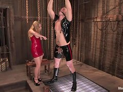 Torture and Pegging for Guy who Ends Up Getting His Dick Ridden