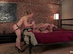 Guy Gets Tied and Fucked in the Ass by a Girl with a Strapon