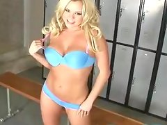 Sublime Blonde Pornstar Bree Olson Masturbating in the Locker Room