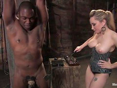 Blonde Dominant Beauty Spanks and Fucks a Black Dude