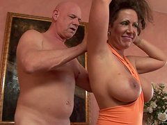 Deepthroat and Cock Ride for Creampie by Mature Brunette