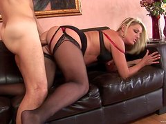 Banging a MILF in Lingerie's Shaved Pussy after Deepthroat Blowjob
