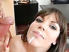 Hot babe Bobbi Starr takes a creamy cream on her mouth