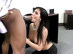 Rebecca Linares blows a big black dick at the office