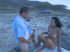 Beach Sex With A Hot Latina And An Old Man