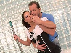 Slutty Maid Gets A Messy Facial After A Rough Threesome