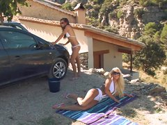 Summer Time Threesome With Naughty Teens Washing Their Car
