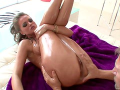 A Rough Oiled Up Fuck For A Sexy Blonde