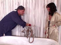 Horny Brunetter Pipes Her Plumber