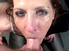 Deep Throat Makes Hottie's Eye Teary