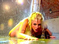 Sexy Blonde Masturbates While Water Pours Down On Her