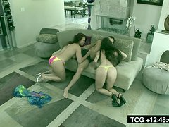 A Threesome With Hot Brunettes In The Living Room