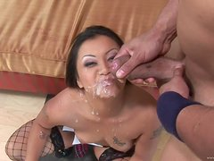 A Face Full Of Cum For Asian Slut After A Threesome