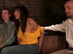 Kyle gets fucked by hot tranny Yasmin Lee in the presence of a voyeur