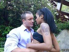 Perfect looking black street hooker gets some white dick