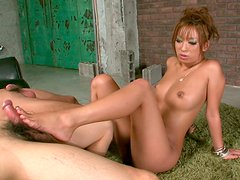 Lustful Asian sexpot Hina Maeda gives head in hot threesome action