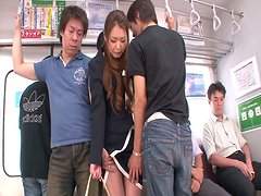 A bunch of perverted dudes are playing with China Mimura's wet hairy cunt