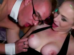 Aroused Russian mils oral fuck steamy strip dancers on scene
