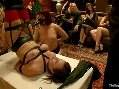 Three chicks get tied up and spanked at New Year party