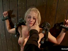 Holly Heart is crying off the pain that she feels in BDSM