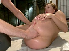 Curvaceous Kristina Rose gets her ass fucked in a prison