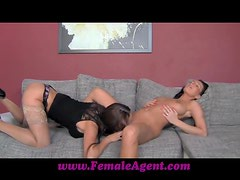 Two amazing brunette women lick and finger their pussies