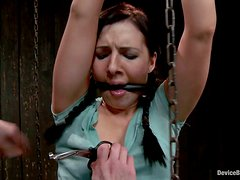 Ashli Orion the playful brunette girl gets chained and toyed